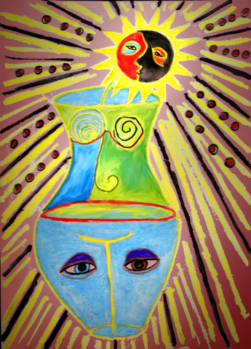 A vase with the sun and moon as a flower, faces and a body