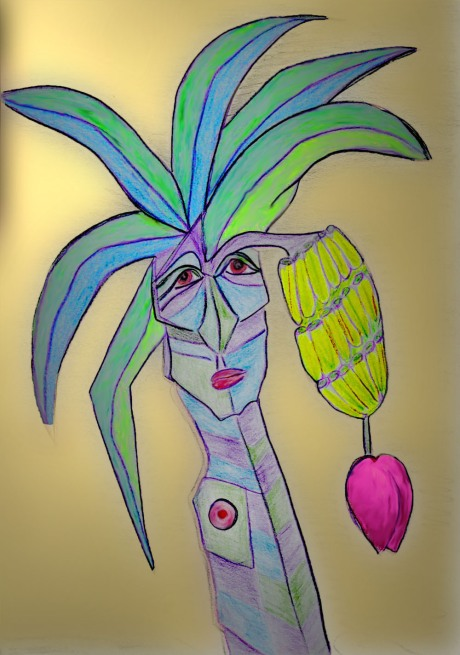 Colored pencil drawing of a banana tree with a face and a nipple