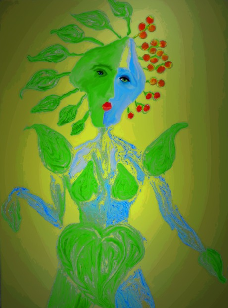 colored pencil drawing of woman with leaf as a head and cherries and leaves as hair