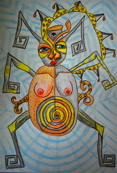 Colored pencil drawing of spider with face and woman's body