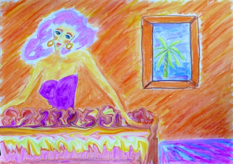 Colored pencil drawing of woman standing behind pastry counter
